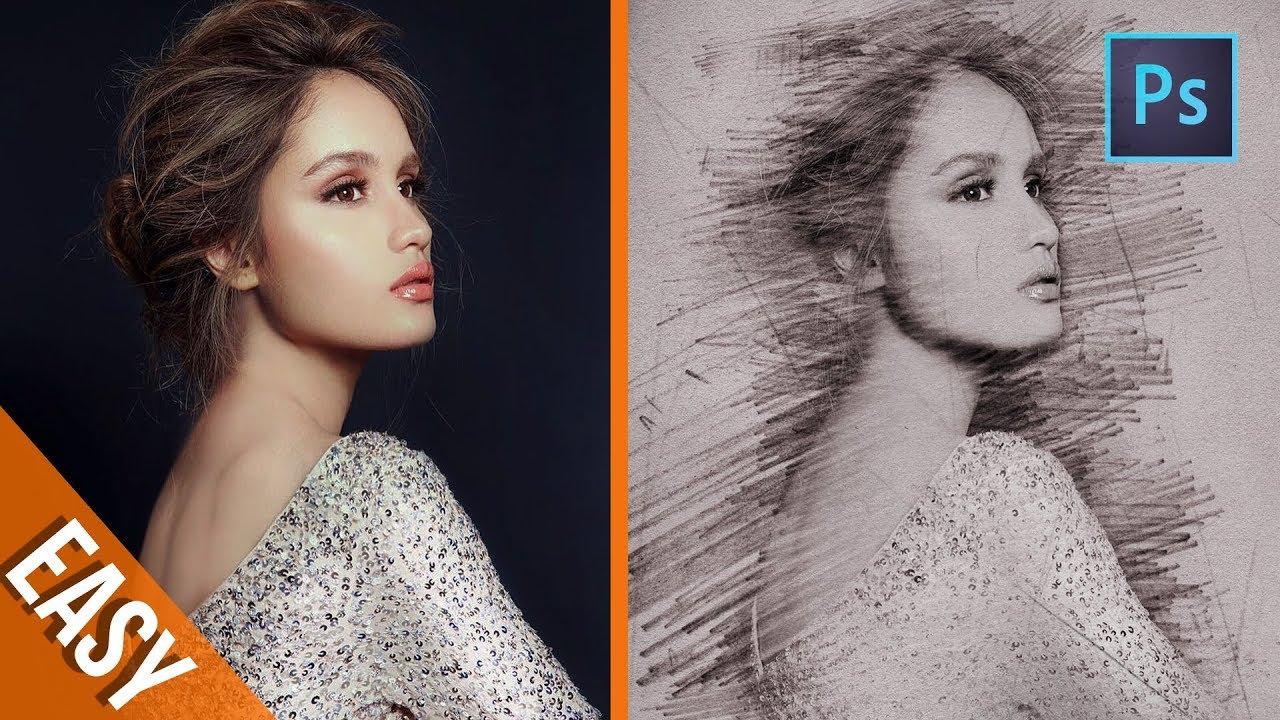 Photoshop tutorials 4 minute to create pencil sketch effect photoshop trick