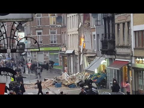 Explosion rue de Hodimont à Verviers 13/12/15.( 30 secondes après l'explosion) .