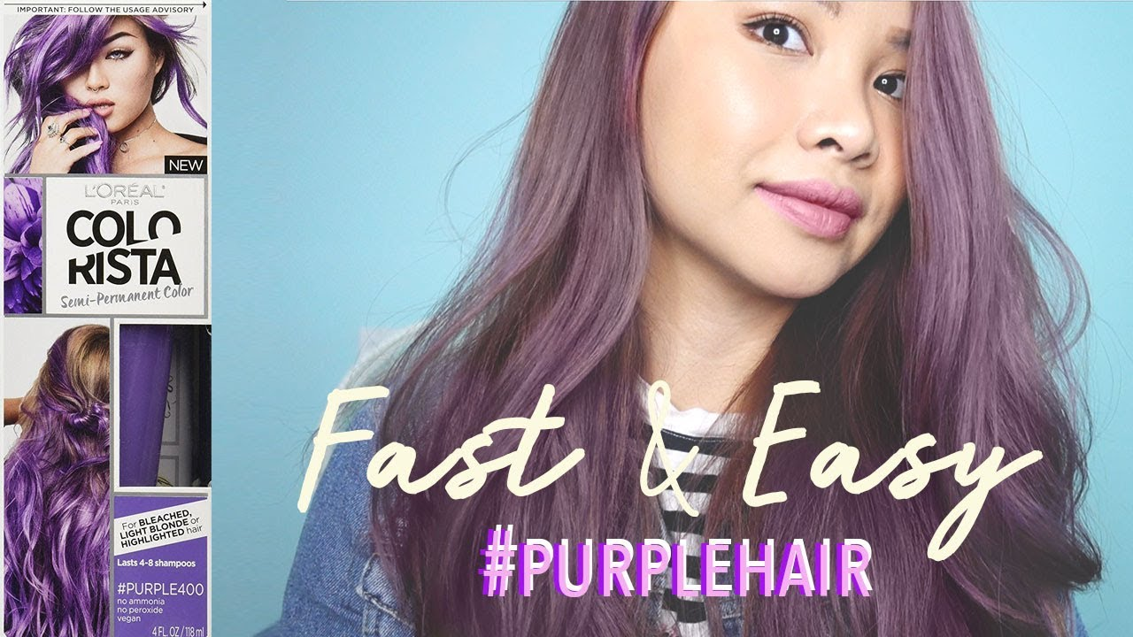 How To Purple Hair Color Loreal Colorista Purple 400 Youtube