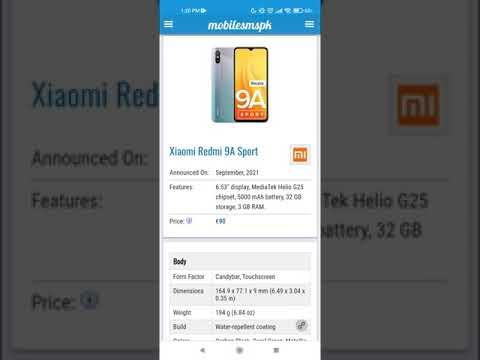 Xiaomi Redmi 9A Sport Specs