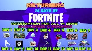 🎅Fortnite Season 7 14 Days of Fortnite RETURNS Information for All 14 Challenges & Rewards 🎅