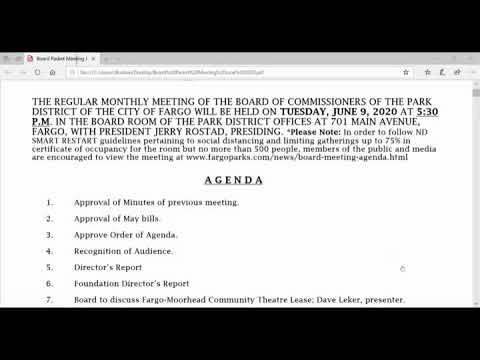 Fargo Park Board Meeting June 9, 2020