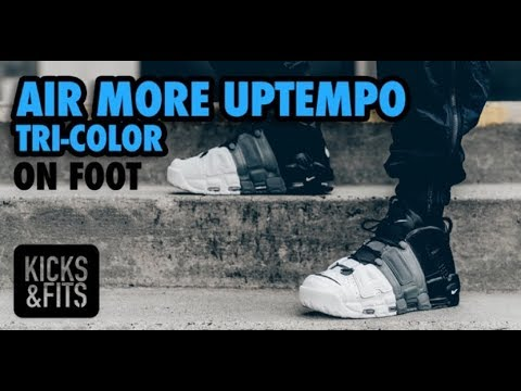 visitante Cortés mínimo  Air More Uptempo 'Tri-Color' ON FOOT Review | Kicks and Fits - YouTube