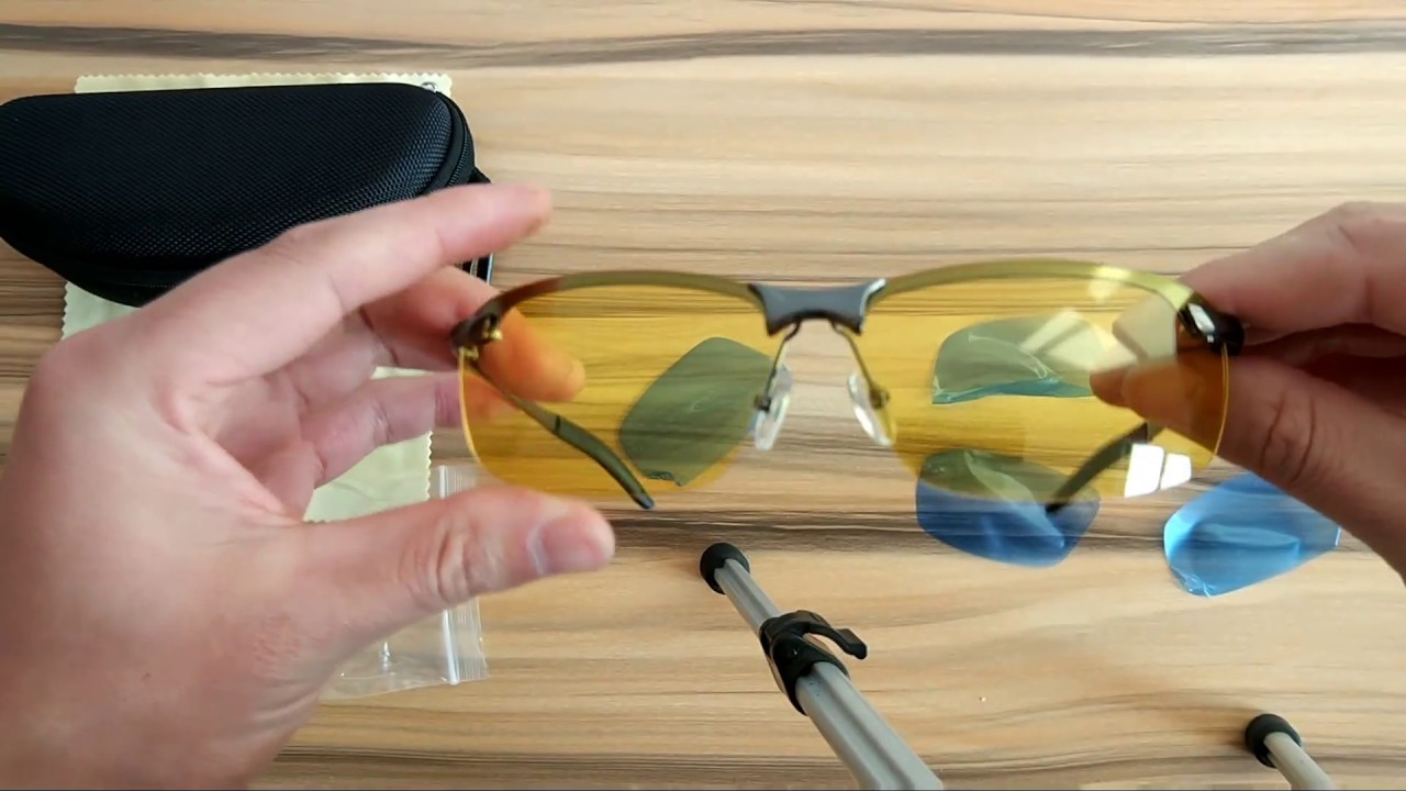 078305b532 Polarized Rimless Night Driving Glasses Gun Grey Yellow Lens - YouTube
