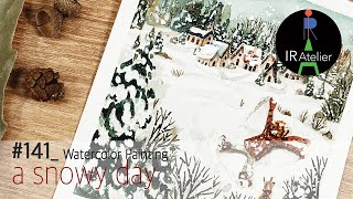 a snowy day watercolor paintin…