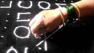 Welcome 2017 with simple  New Year rangoli designs | kolam  with 14  dots | Sudha Balaji muggulu