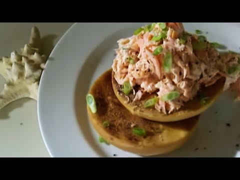 Smoked salmon pate on toasted bagels Ainsley Harriott BBC