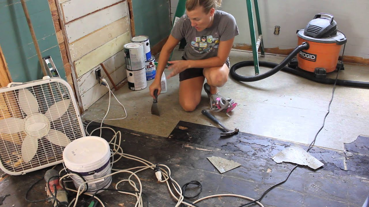 How We Removed Our Asbestos Floor Tiles YouTube - How to clean marley floor