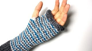 How to Loom Knit Fingerless Mittens changing colors (DIY Tutorial)