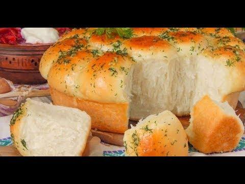Хлеб в мультиварке с чесноком и зеленью