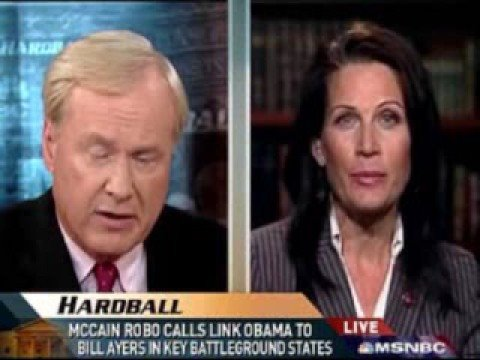 Rep. Bachmann (Rethug-MN) w/ Chris Matthews, Suggests Liberals Are Anti-American