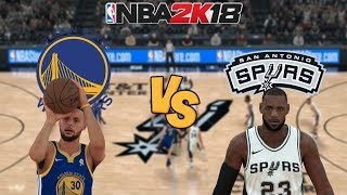 NBA 2K18 - Golden State Warriors vs. San Antonio Spurs (LeBron James) - Full Gameplay