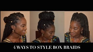 how to style box braids   4 ways