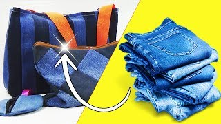 3 Ideas hechas con Jeans o Vaqueros || Manualidades Recicladas ||  Ecobrisa