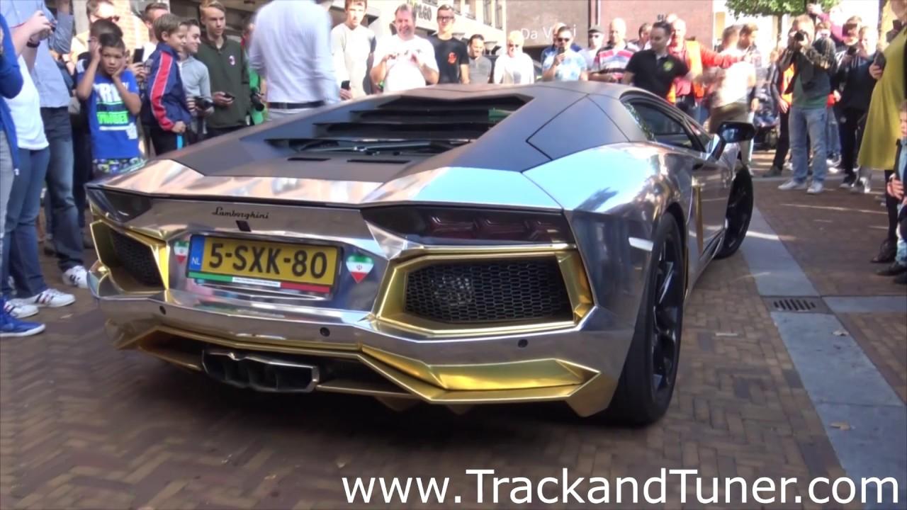 Gold Chrome Lamborghini Aventador shooting Mive Flames - YouTube on lamborghini with flames, dodge charger shooting flames, koenigsegg agera r shooting flames, lamborghini aventador spitting flames, ferrari f40 shooting flames,