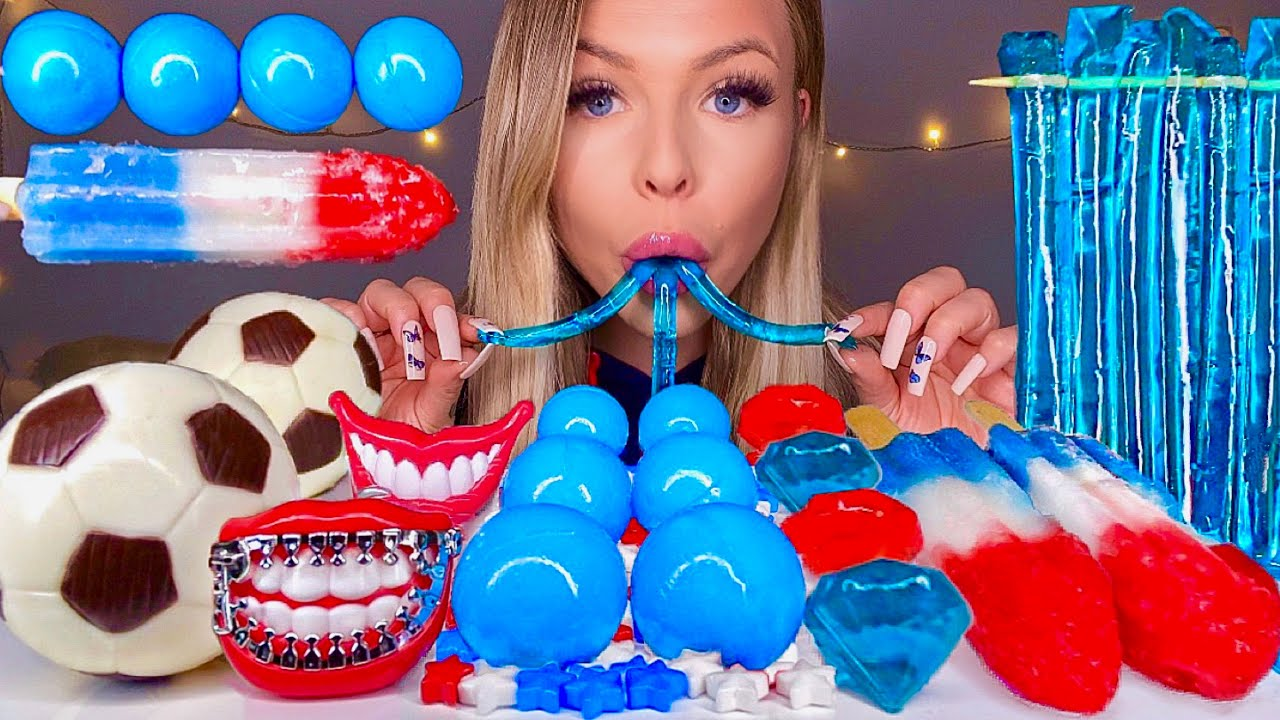 ASMR *RED, WHITE & BLUE FOOD* EDIBLE SOCCER BALL, PLANET GUMMI, FIRE CRACKER POPSICLE, JELLY MUKBANG
