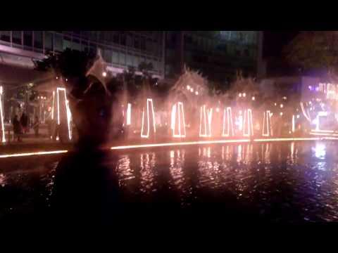 Orion Mall night view of lake Bangalore