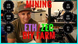 Garage Basement Crypto Mining Farm ETH + ZEC Mining 07/17