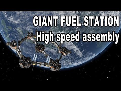 Kerbal Space Program - Building a Gigantic Hexagon Fuel Station - the speed edition