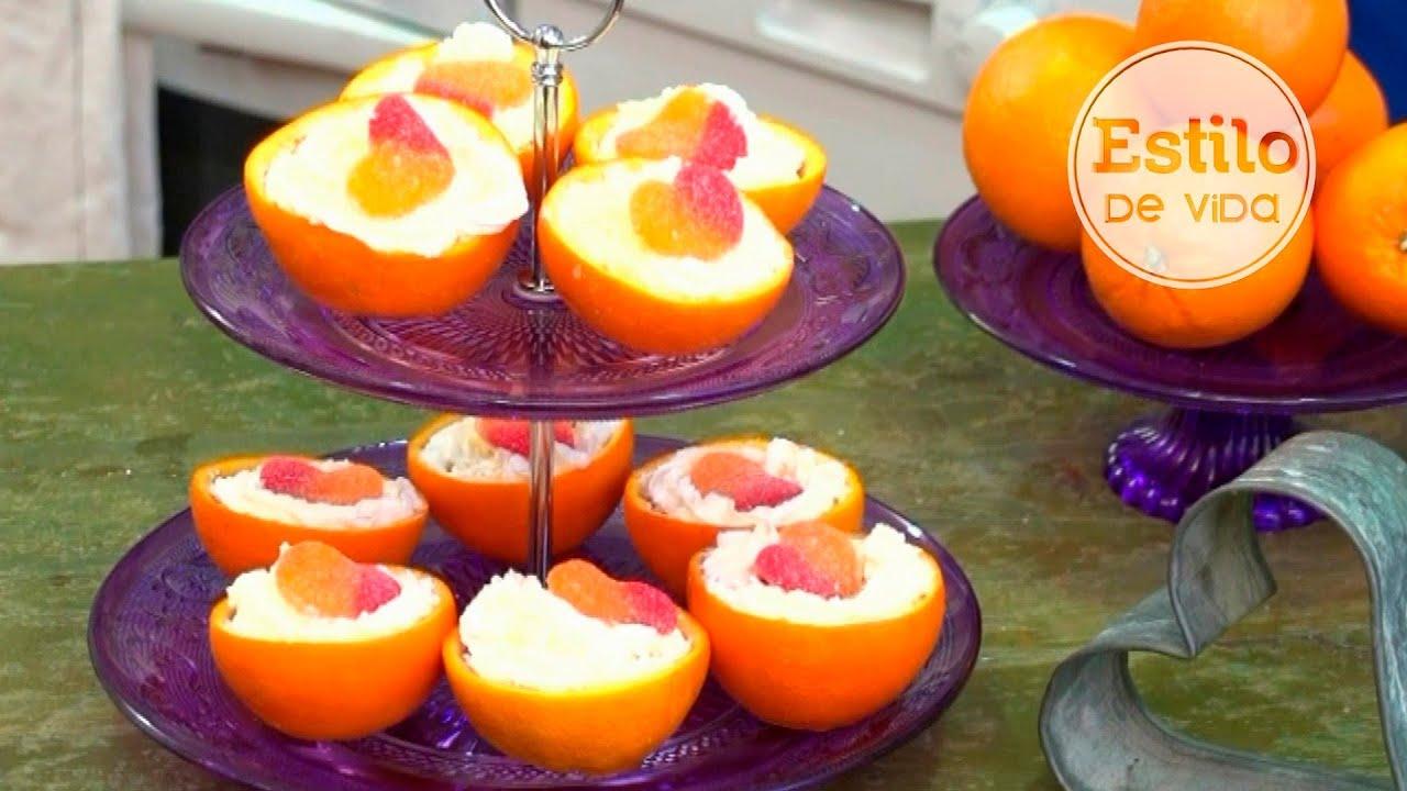 Naranjas Rellenas De Gelatina De Fresa Postre F Cil Y