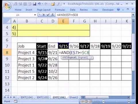Excel Magic Trick #106 Gantt Chart for Daily Schedule - YouTube