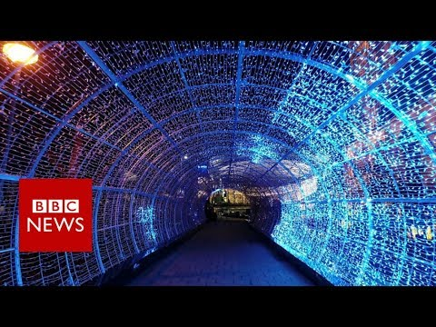 Inside Europe's longest light tunnel – BBC News