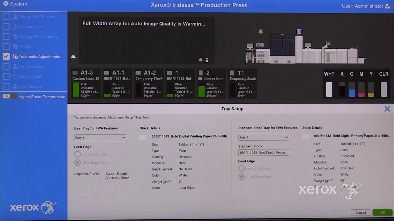 Xerox® Iridesse® PCUI Automatic Density Uniformity Adjustment