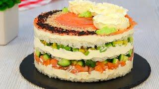 Слоёный салат Суши Суши торт Красивый и вкусный Салат к праздничному столу Марьяна Рецепты