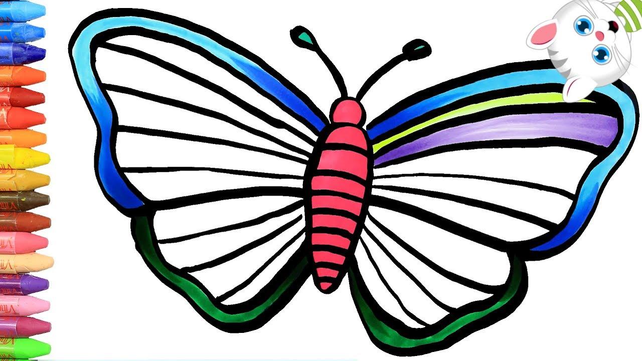 Cómo Dibujar Y Colorear Mariposa Purpurina Dibujos Para Niños Con Mimi Aprender Colores