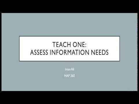 Teach One: Assess Information Needs