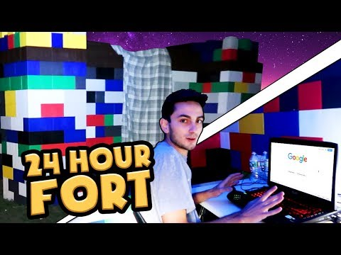 24 HOUR GIANT BLOCK FORT CHALLENGE! (Will we Survive?)