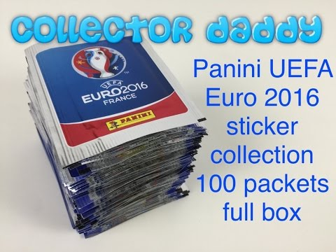 Panini UEFA Euro 2016 sticker collection 100 packets full box opened