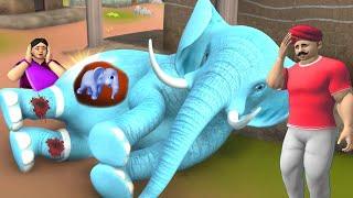 கர்ப்பிணி யானை - PREGNANT ELEPHANT PAIN Tamil Story 3D Cartoon Moral Stories   Funny Stories