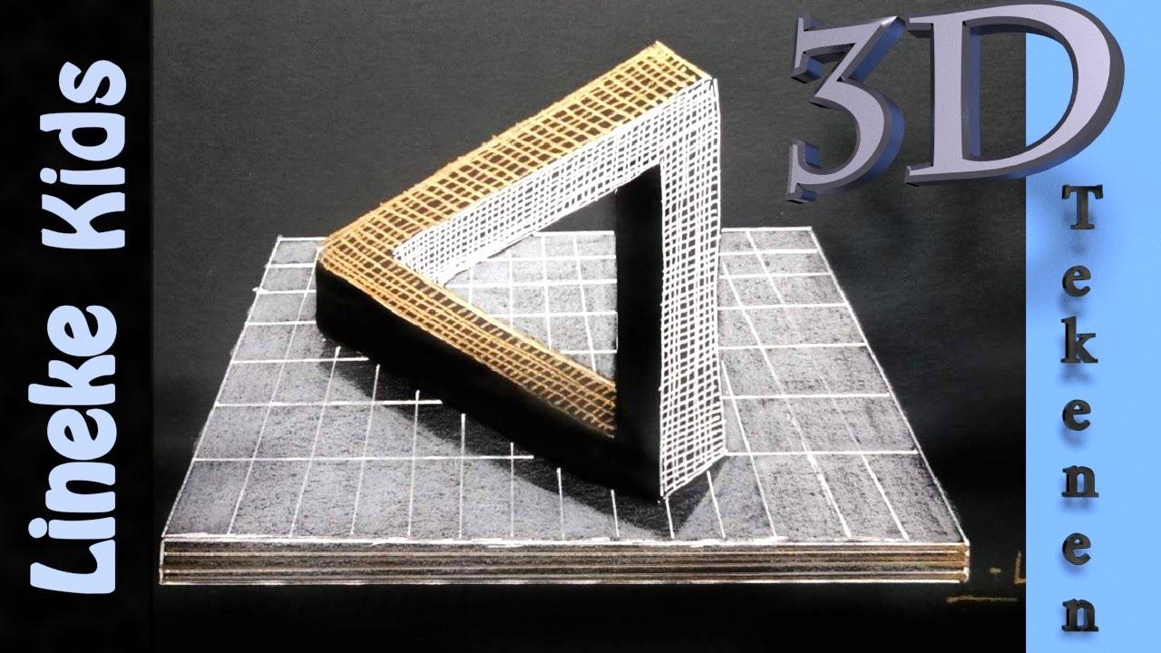 3d tekenen onmogelijke driehoek makkelijk voor beginners