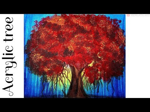 Acrylic tree painting – Step by Step
