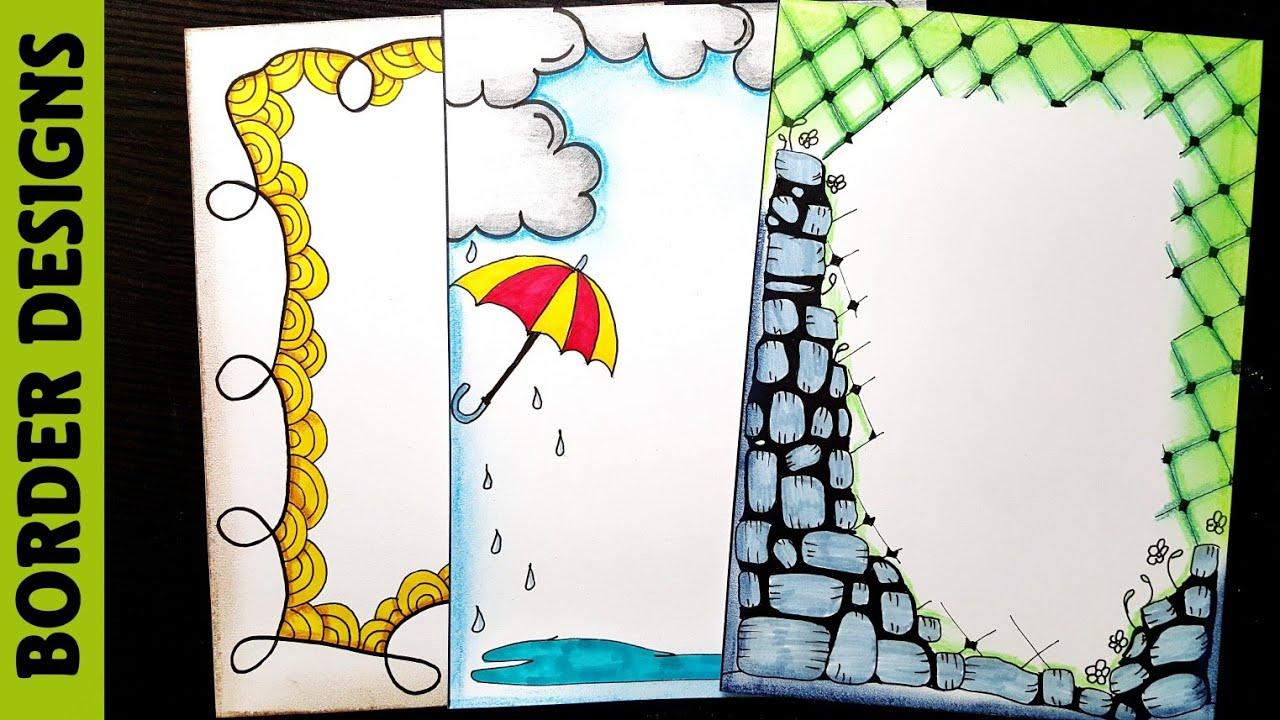 Border designs on paper|Border Designs|Project work Designs|Borders Design for School Project