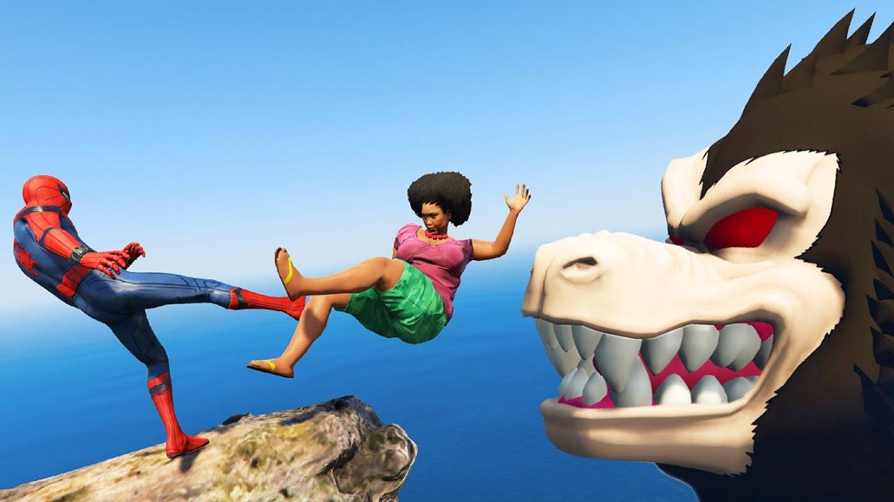 GTA 5 Water Ragdolls | SPIDERMAN Found Vegeta Oozaru Jumps/Fails Compilation #49 (Funny Moments)