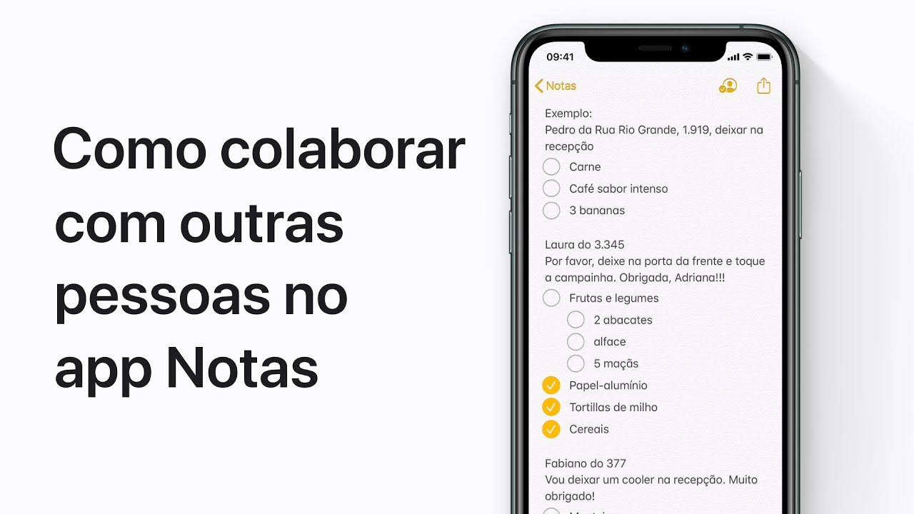 Como colaborar com outras pessoas no app Notas no iPhone, iPad e iPod touch — Suporte da Apple