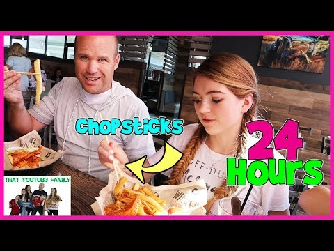 24 Hours Using Only Chopsticks / That YouTub3 Family