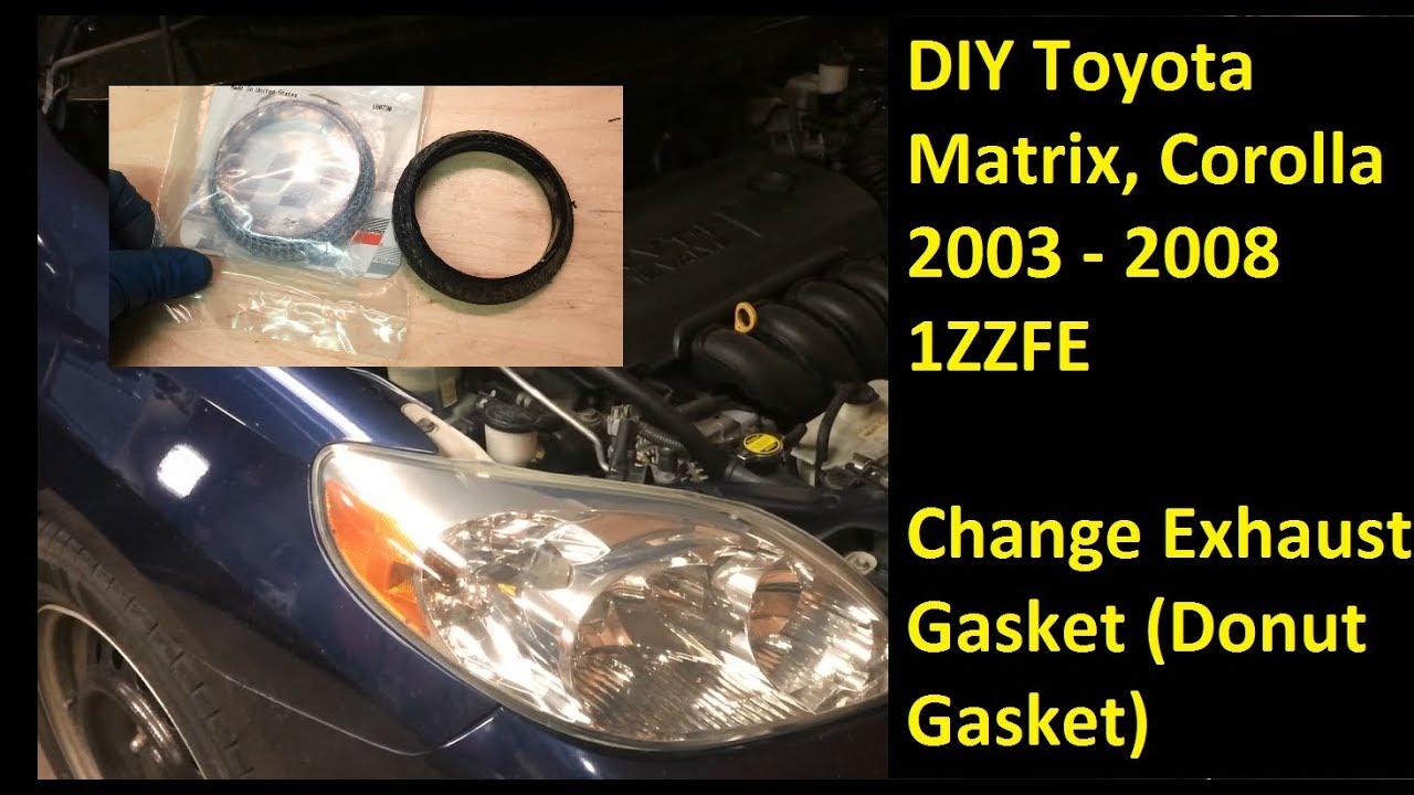 diy 03 08 toyota matrix corolla replace exhaust gasket donut 1zzfe