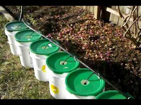 Off Grid Drip Irrigated Hyrdoponic 5 Gallon Barrel System