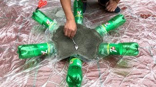 DIY - ❤️ CEMENT CRAFT IDEAS ❤️ - Idea of making a tree pots with cement and bottles scrap
