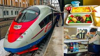 "RAILWAY. FIRST CLASS HIGH-SPEED TRAIN ""SAPSAN"" JOURNEY / ПЕРВЫЙ КЛАСС СКОРОСТНОГО ПОЕЗДА САПСАН"