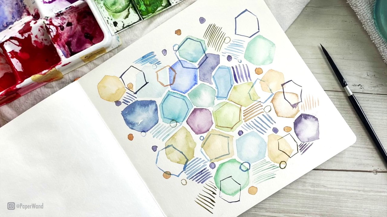 Abstract Gems in Watercolor & Ink