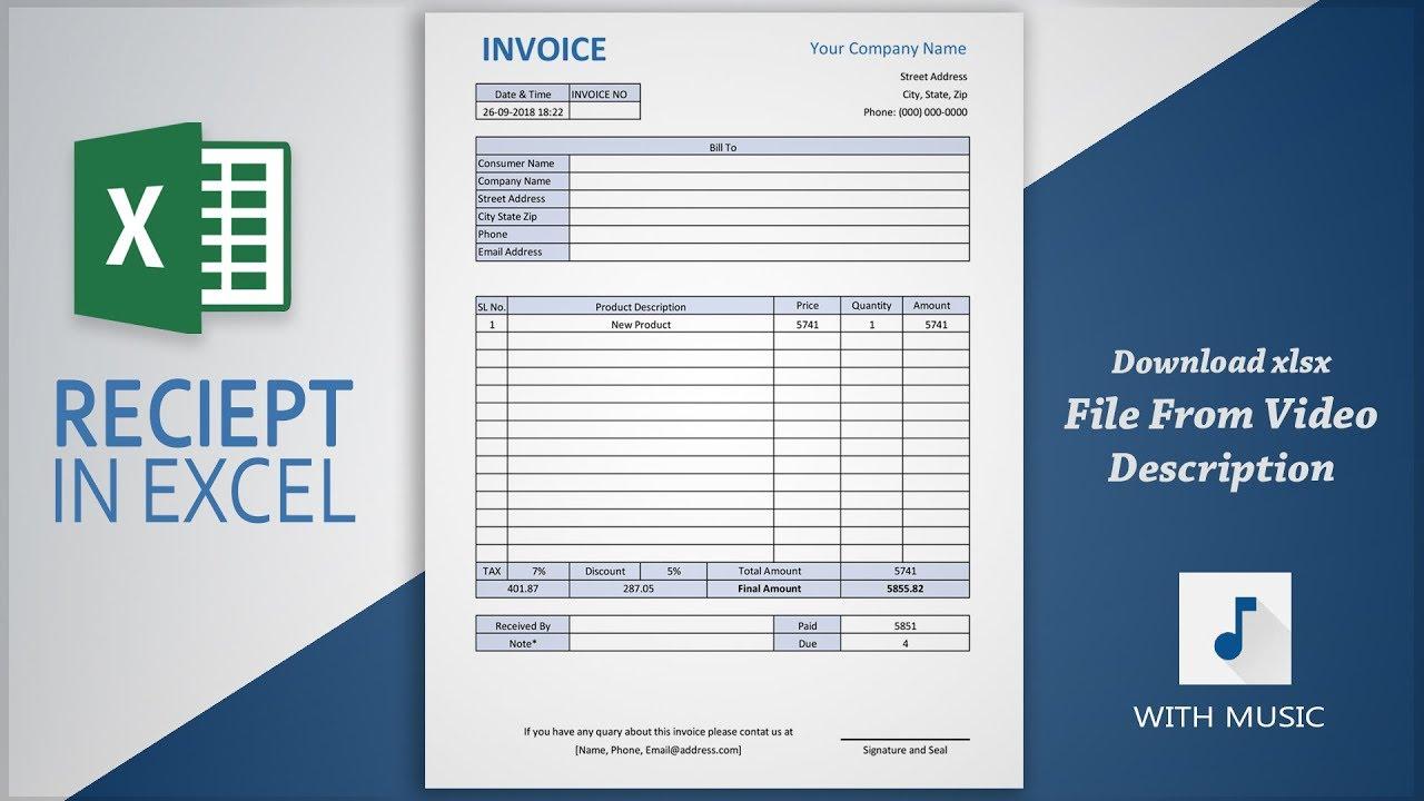 Invoice Creating Tutorial in Excel | Create Receipt in ...