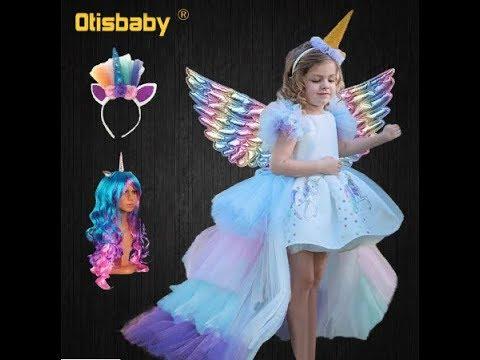 Рождественское платье для девочек с единорогом с длинным хвостом + парик с крыльями НА АЛИЭКСПРЕСС