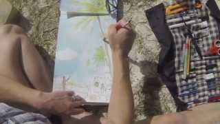 Sketching the Coconut Harvest in Mauritius