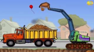 การ์ตูนรถแม็คโคร รถดั้มบรรทุกดิน Trucks and Diggers วีดีโอสำหรับเด็ก