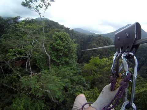 Arenal Mundo Aventura Zip Line #6 over small waterfall GoPro