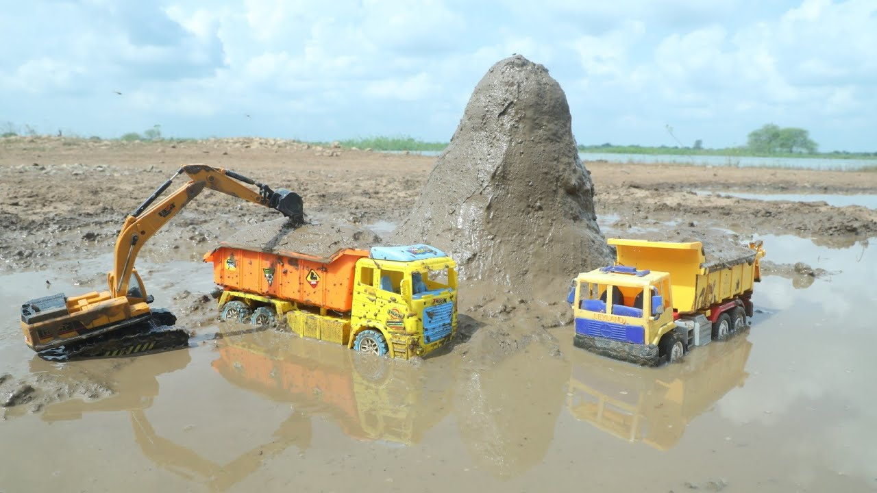 Jcb fully Loading Mud Tata Truck | Mini Tractor | Dump Truck | Kids video | CS Toy